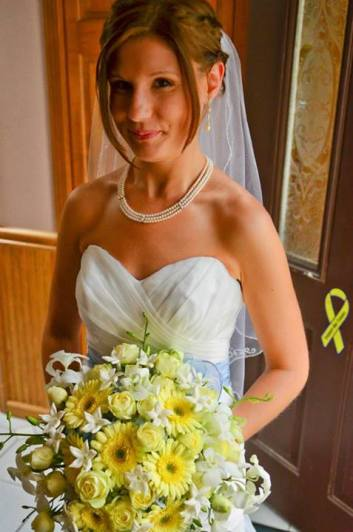 Soft yellow and sky blue wedding flowers clarence