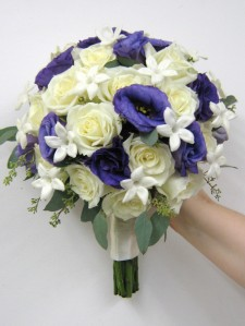 Bridal Bouquet White Roses, Stephanotis, Lisianthus