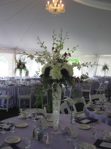 Tall Pilsner Centerpiece for a wedding at Avanti Mansion Hamburg, NY