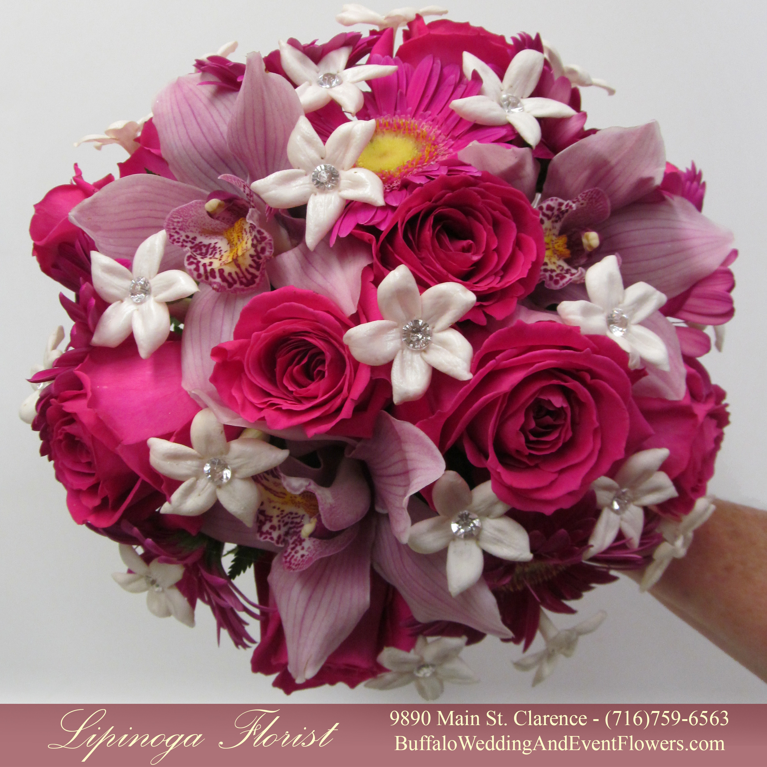 Hot pink wedding flowers buffalo wedding event flowers by wedding flowers hamburg mightylinksfo