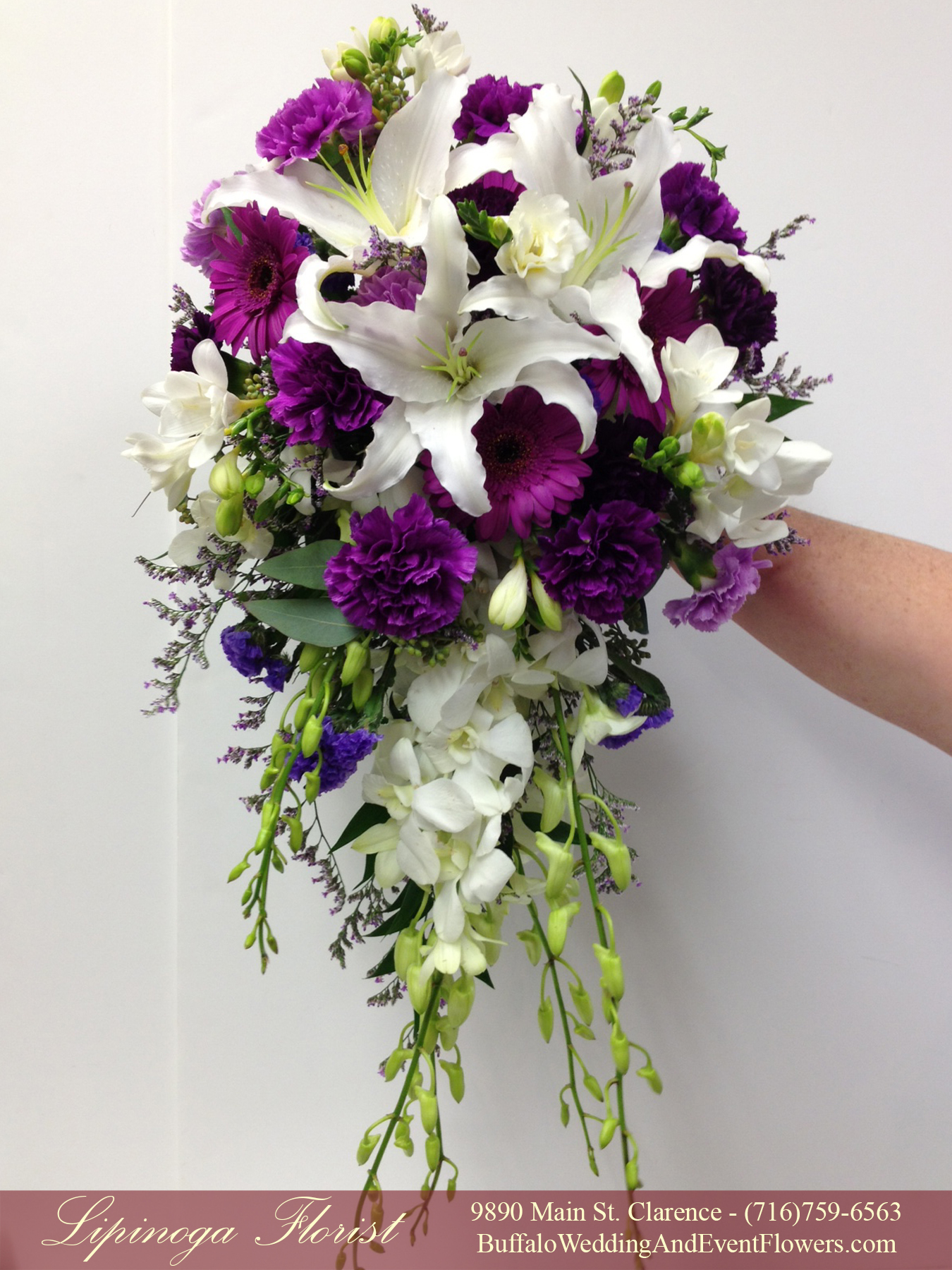 White Lily and Orchid Cascading Bridal Bouquet |Lily Bridal Bouquets