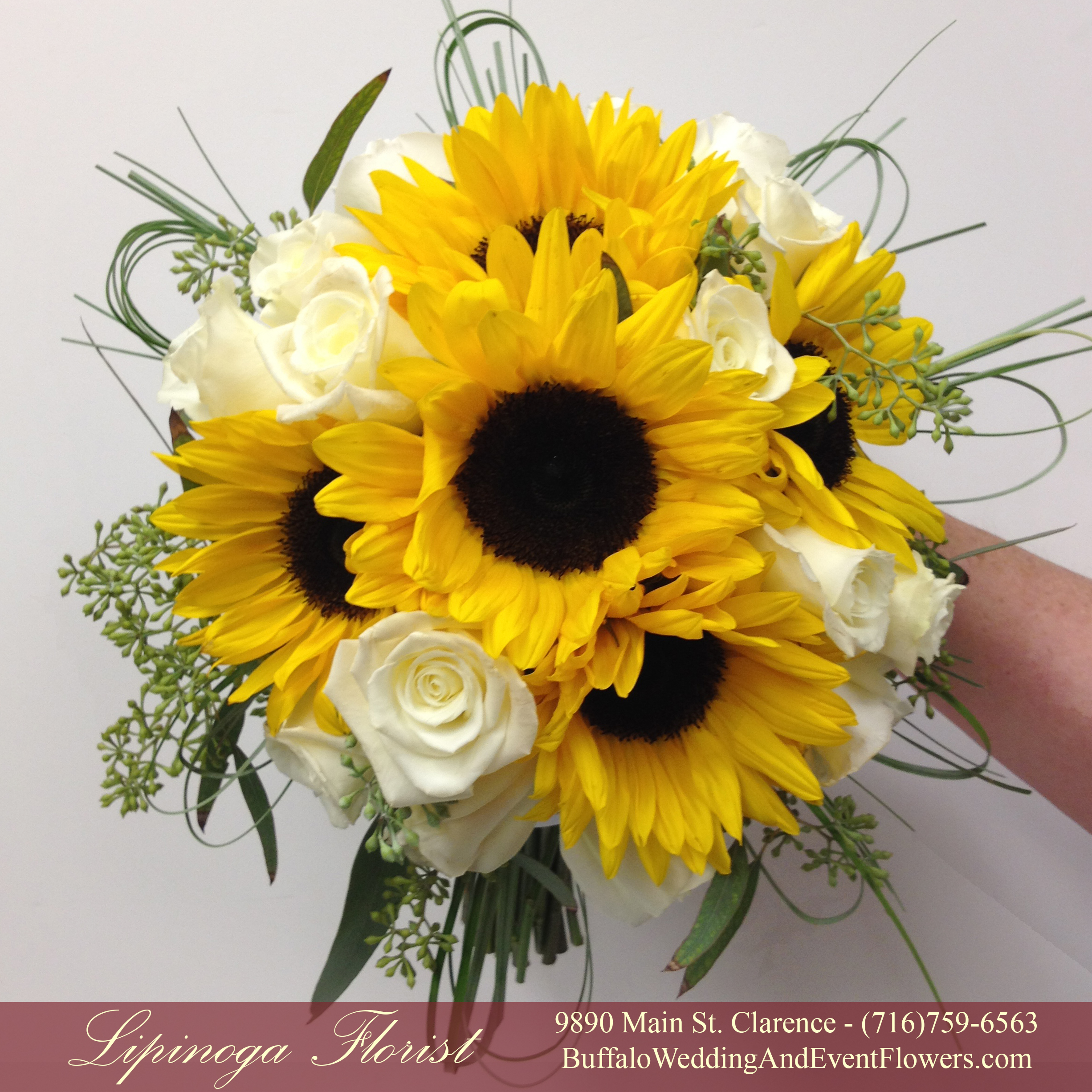 Sunflower bridal bouquet buffalo wedding event flowers by wedding flowers buffalo ny junglespirit Images