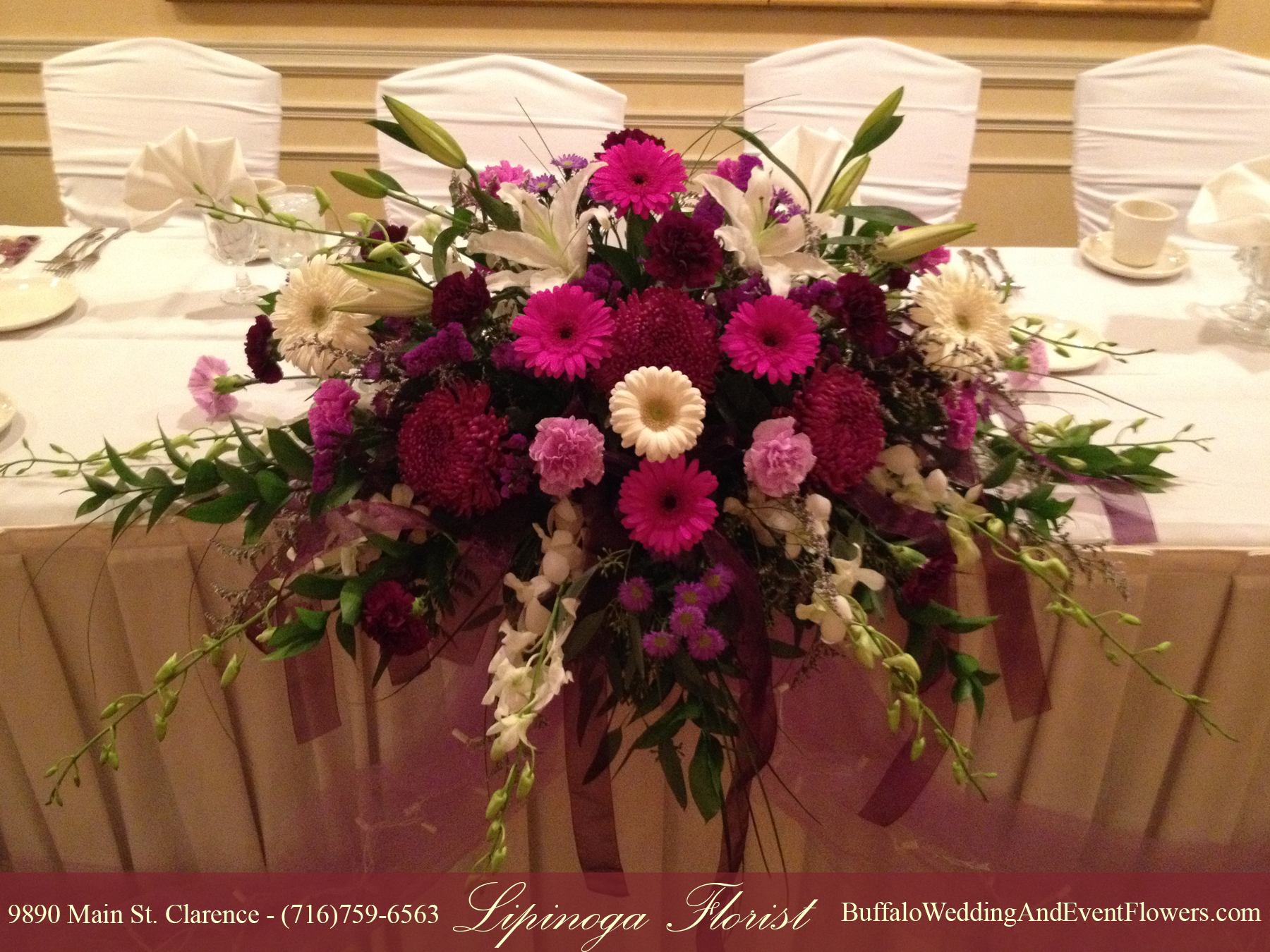 Samuel s grand manor wedding reception buffalo wedding for Bridal table arrangements