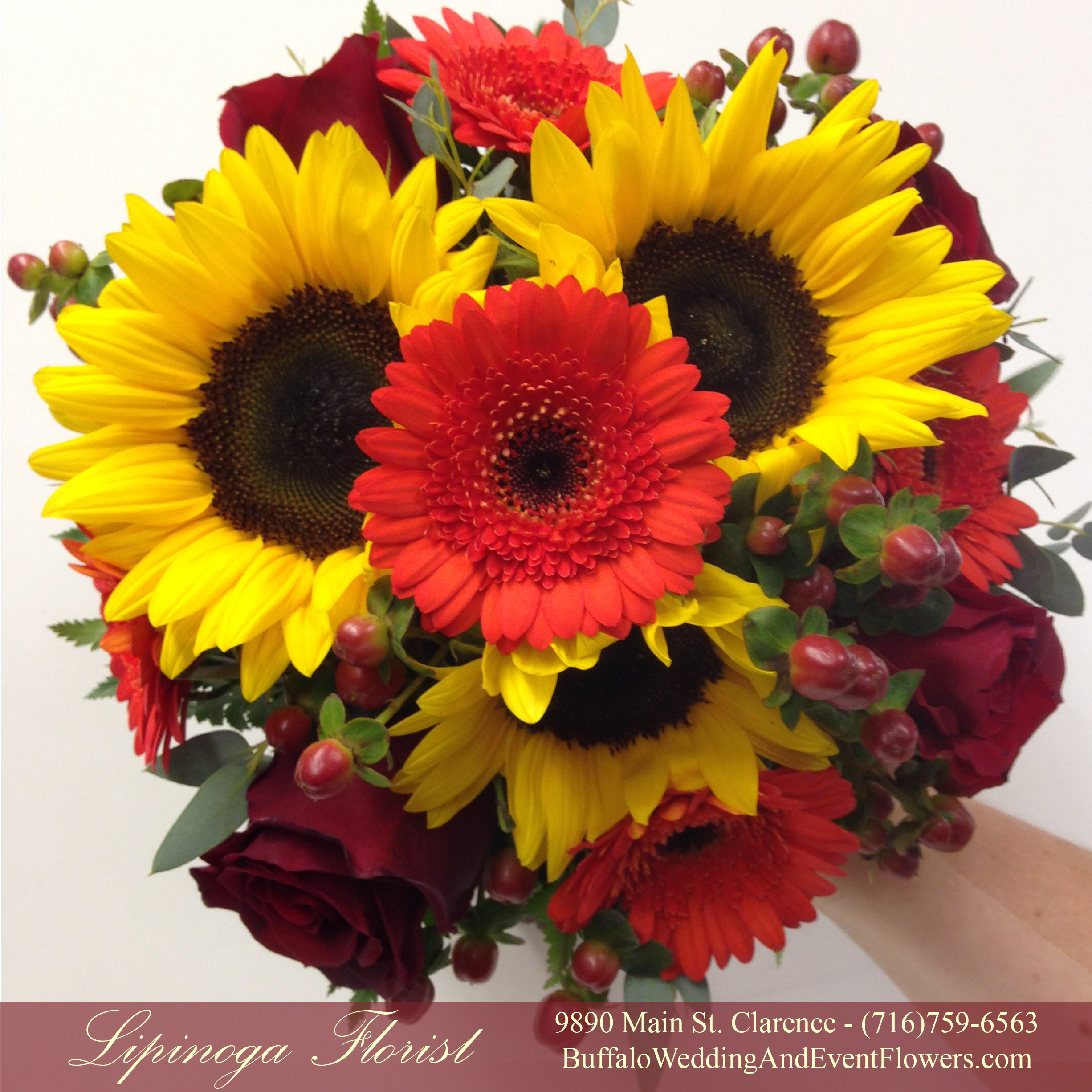 Gerbera Daisy Bouquet Yellow Orange Purple