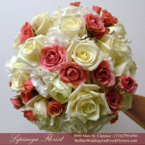 Coral Bridal Bouquet by Lipinoga Florist Buffalo Wedding Flower Specialists (14)