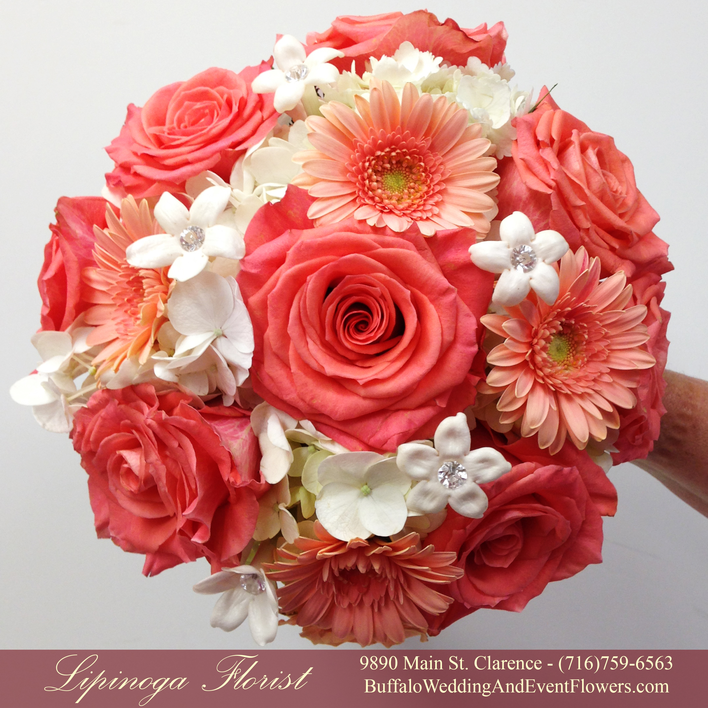 Coral, Orange & Peach Bridal Bouquets