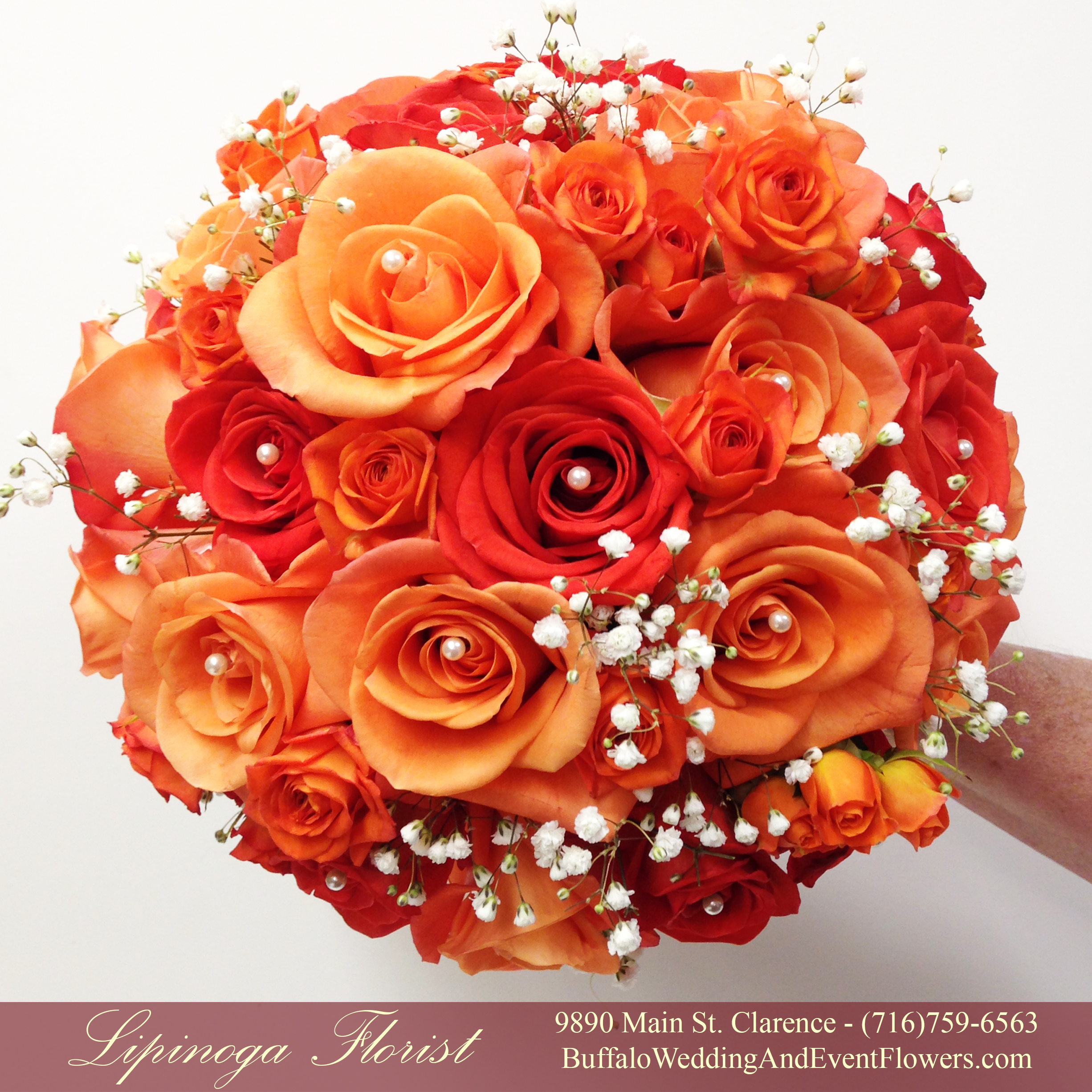 orange wedding flowers buffalo wedding event flowers by lipinoga florist. Black Bedroom Furniture Sets. Home Design Ideas