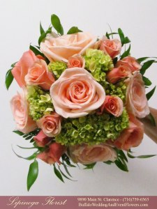 leaf and peach wedding flowers clarence ny