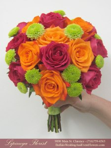midori and hot pink and orange wedding flowers buffalo ny lipinoga florist