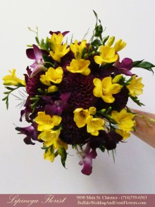 plum and yellow wedding flowers buffalo ny lipinoga florist