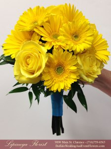 pool blue and yellow wedding flowers buffalo ny lipinoga florist