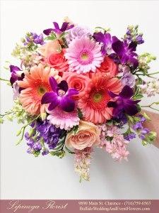 purple and coral wedding flowers lipinoga florist buffalo ny