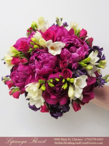 roseglow and fuschia wedding flowers