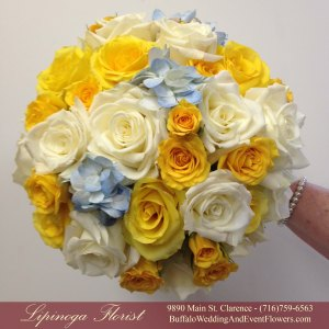 Lipinoga Florist of Clarence NY blue and yellow rose and hydrangea Bridal Bouquet for Buffalo Wedding