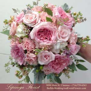 Lipinoga Florist of Clarence NY blush pink Bridal Bouquet for Real Buffalo Wedding