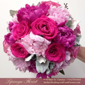 Lipinoga Florist of Clarence NY designed pink and hot pink Bridal Bouquet for Real Buffalo Wedding
