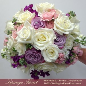 Lipinoga Florist of Clarence NY designed pink and lavendar Bridal Bouquet for Real Buffalo Wedding
