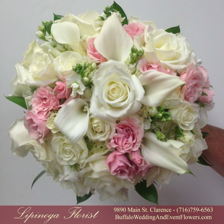 Lipinoga Florist of Clarence NY designed pink Bridal Bouquet for Real Buffalo Wedding