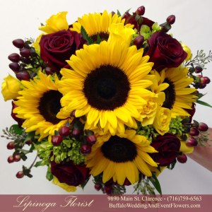 Lipinoga Florist of Clarence NY designed sunflower Bridal Bouquet for Buffalo Wedding