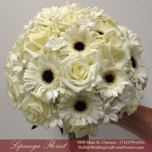 Lipinoga Florist of Clarence NY designed White and Black Rustic Bridal Bouquet for Real Buffalo Wedding