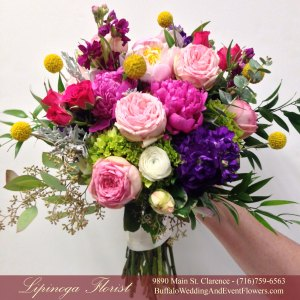 Lipinoga Florist of Clarence NY free form country natural garden Bridal Bouquet for Real Buffalo Wedding