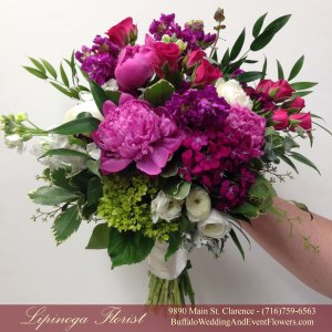 Lipinoga Florist of Clarence NY free form rustic natural garden Bridal Bouquet for Real Buffalo Wedding