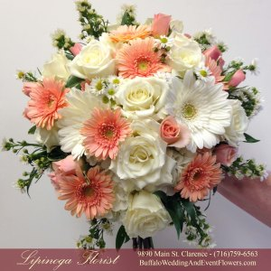 Lipinoga Florist of Clarence peach Bridal Bouquet for Real Buffalo Wedding