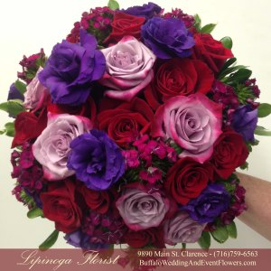 Lipinoga Florist purple, red and lavender Bridal Bouquet for Real Buffalo Wedding
